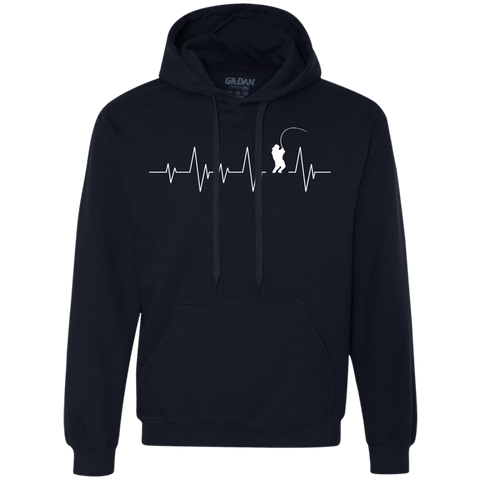Fishing Heartbeat -  Heavyweight Pullover Fleece Sweatshirt