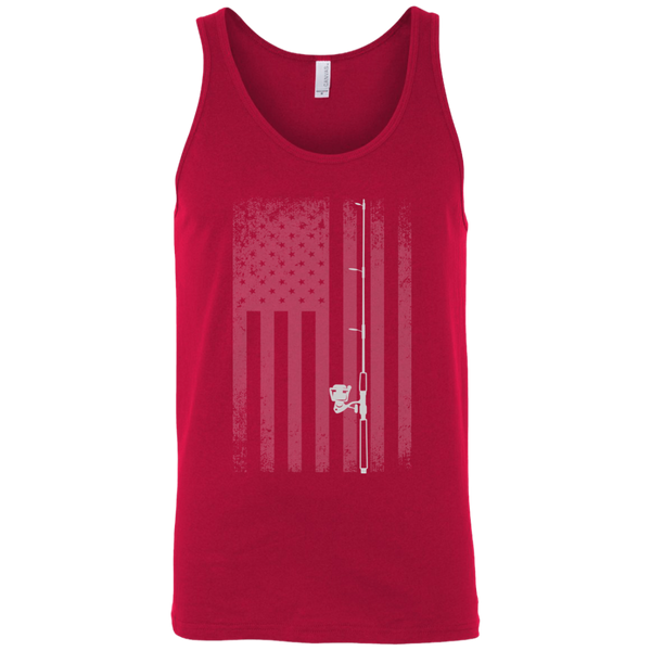 American Flag Fishing Tank Top - White Longways - Red