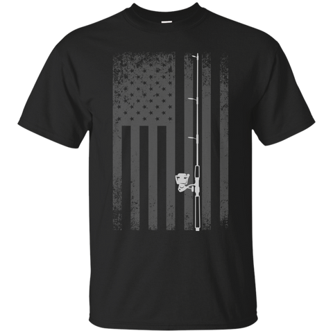 American Flag Fishing T-shirt - White Longways - Black