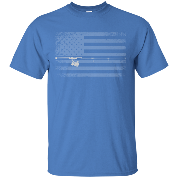 American Flag Fishing T-shirt - White Across - Iris Blue
