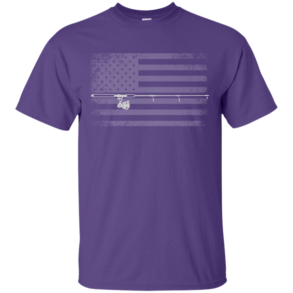 American Flag Fishing T-shirt - White Across