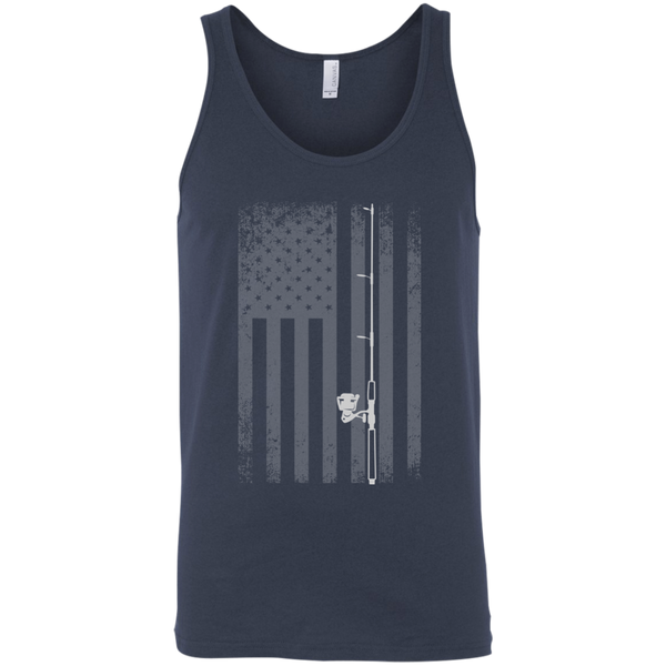 American Flag Fishing Tank Top - White Longways - Navy Blue