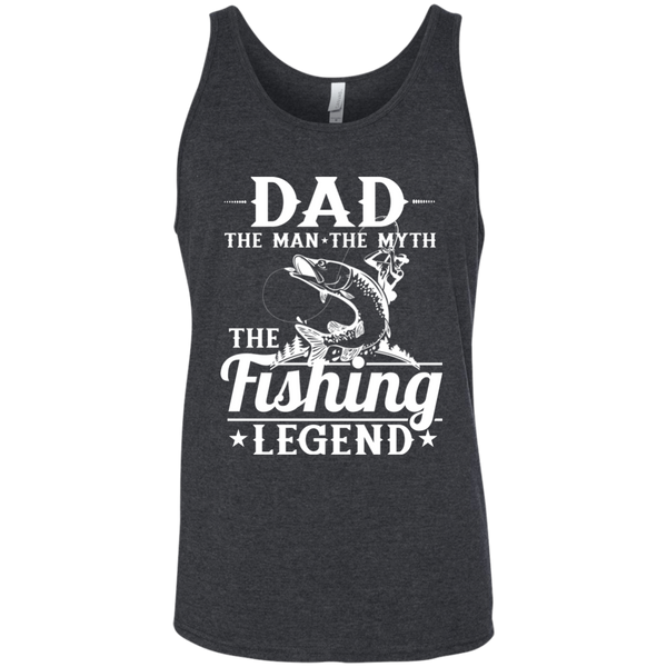 Dad The Man The Myth The Fishing Legend Fishing Tank Top grey