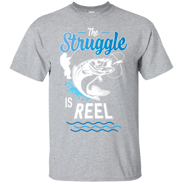Funny Fishing Shirt The Struggle Is Reel Sport Grey