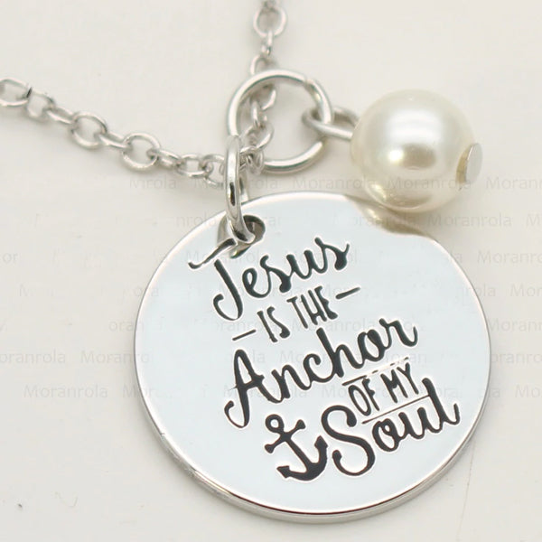 "Jesus is the anchor of my soul ""Copper silver necklace & Keychain"
