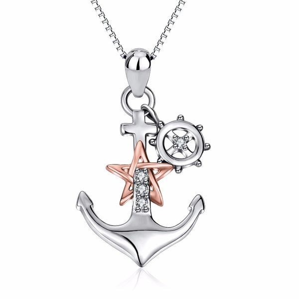 Sterling Silver Ship Anchor Necklace Rose Gold Star