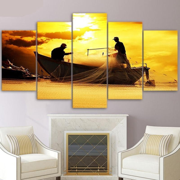 Canvas Wall Art Fisherman With Fishing Net