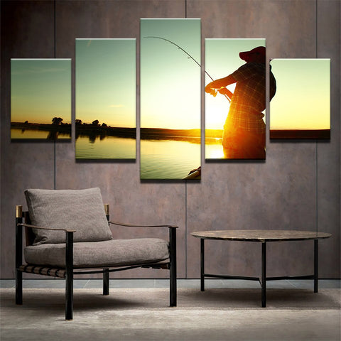 Canvas Wall Art Fishing On Shore