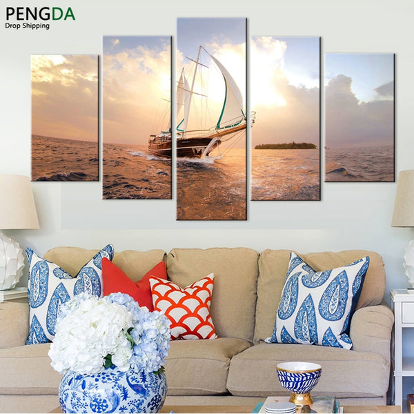 Canvas Wall Art Sailboat At Sea