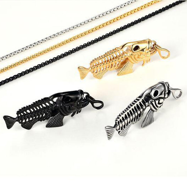 Fish Bone Necklace Skeleton Pendant