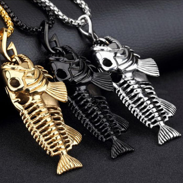 Fishbone Necklace Silver black gold
