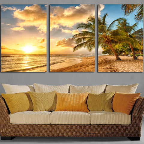 palm trees Canvas Wall Art Ocean View Decor