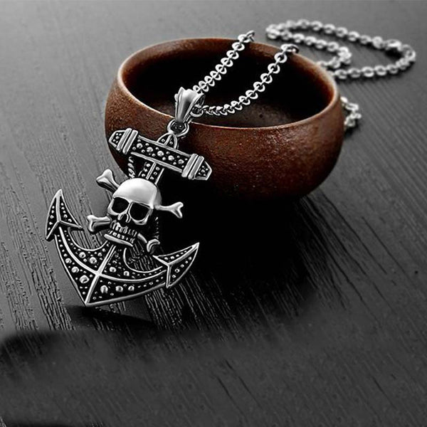 Skull Ship Anchor Necklace