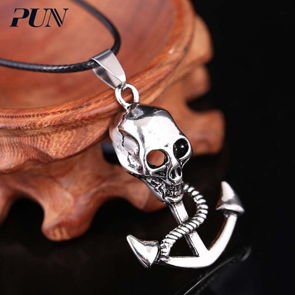 Skull Anchor Pendant Necklace