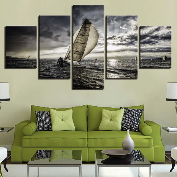 Canvas Wall Art Sailboat with Dark Sky