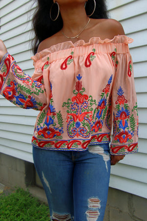 Peach Passion Off The Shoulder Top