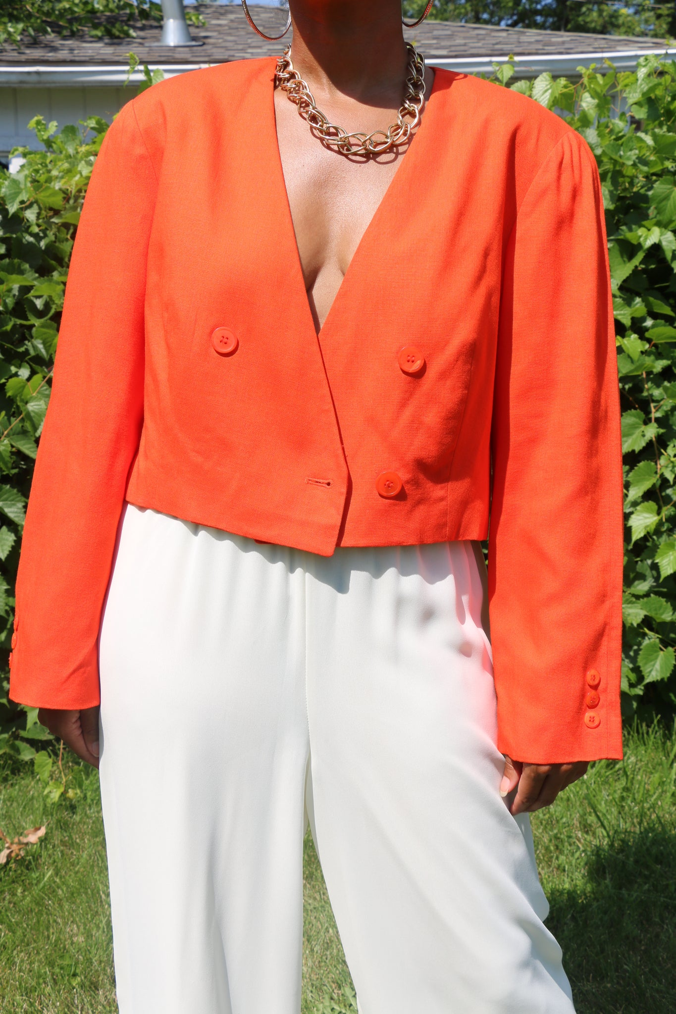 Crop It Vintage Crop Blazer (Orange)