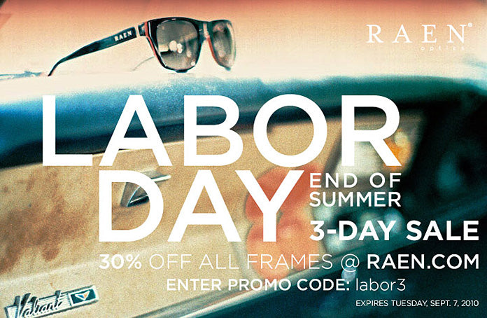 RAEN Labor Day Sale, 30% Off All Frames This Weekend