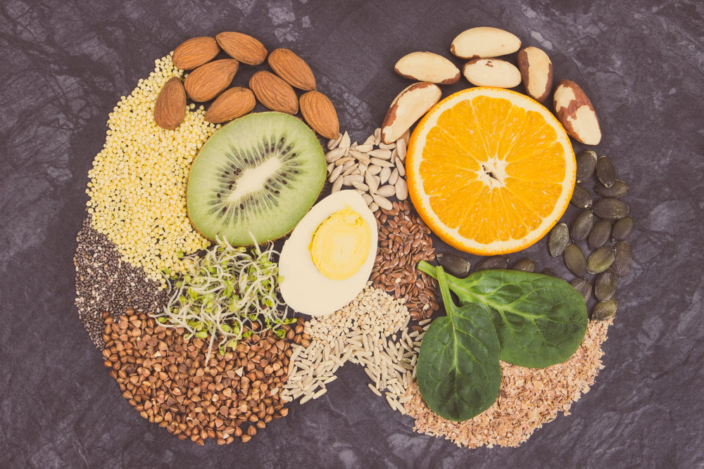 Nutritious natural ingredients in shape of thyroid. Healthy food containing vitamins and minerals