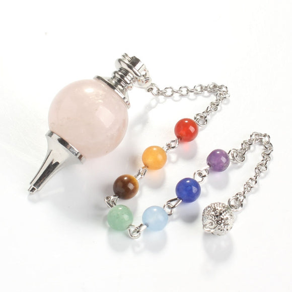 18 mm Natural Rose Pink Quartz Chakra Stone Chain Dowsing Healing Pendulum Pendant Fashion Jewelry.  SILVER PLATED