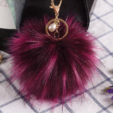Fluffy Artificial Raccoon Fur Keychain Pompom Ball Key Ring Holders Charm Women Bag Car Pendant Jewelry Trinket Accessories - 17-colors