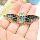 Fashion Jewelry Egyptian Cicada Moth Crystal Rhinestone Enamel Paint Golden Tone Bug Pin Brooches