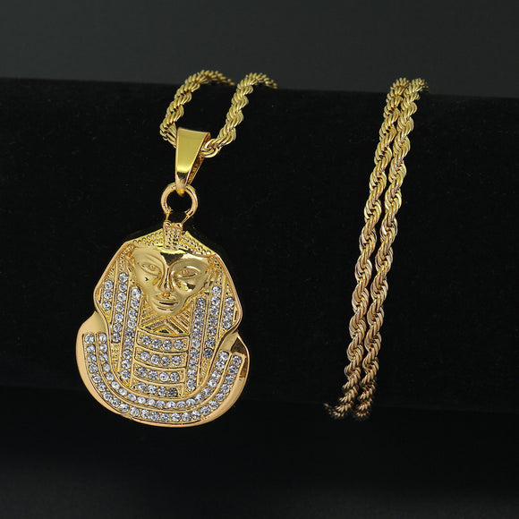 13mm 24inch Stainless Steel Rope Chain Hip Hop Egyptian Pharaoh Pendant Necklace Jewelry N701