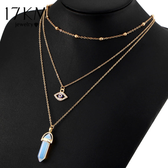 Opal Stone Chokers Necklaces Multi Layer Crystal Eye Pendant Bohemian Jewelry - 8 colors
