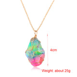 1PC Fashion Irregular Rainbow Stone Colorful Natural Crystal Chakra Rock Necklace Gold Plated Quartz Pendant Collections