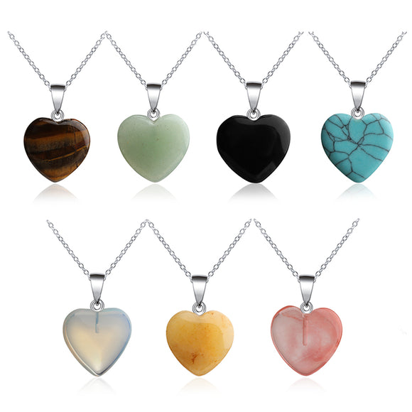 Fashion Heart Stone Pendant Necklace Rock Natural Quartz Crystal Healing Chakra Stone Pendant Necklace for Women Jewelry