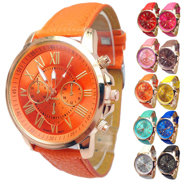 Casual Roman Numeral Watch For Men Women PU Leather Quartz - 10 colors to choose from