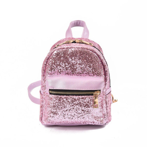 PU Leather Sequins Backpack All-match Bag Girls Small Travel Princess Bling Backpacks - 4-colors