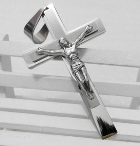 big silver jesus cross necklace pendants men jewelry 316 stainless steel floating locket charms Christian Crucifix pingente
