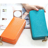 High Quality Black Purse Women Leather Luxury Double Zipper Wallet - 9-colors