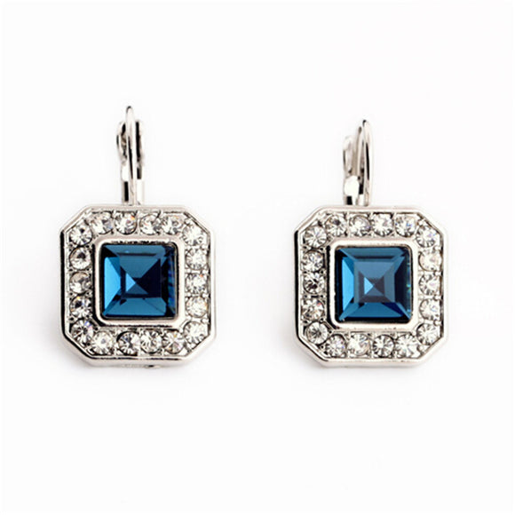 Geometric Crystal Drop Earrings For Women