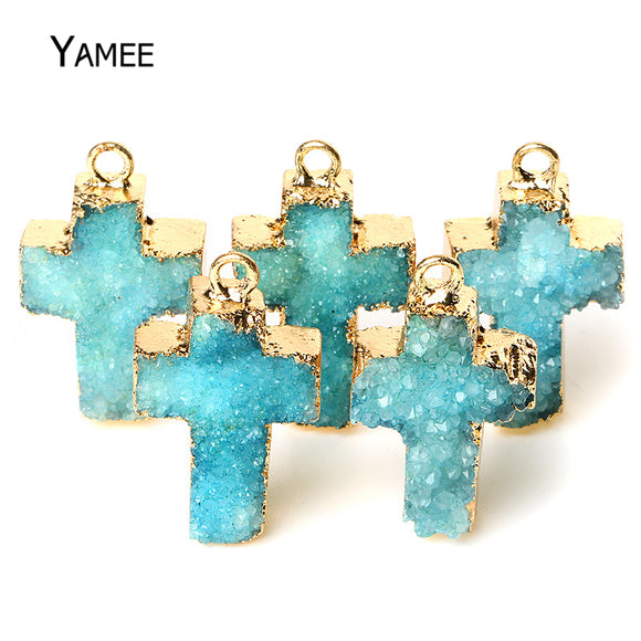 26*18mm Natural Druzy Quartz Blue Gold Pendants Raw Irregular Crystal Cross Stone Charms jewelry For necklaces women DIY