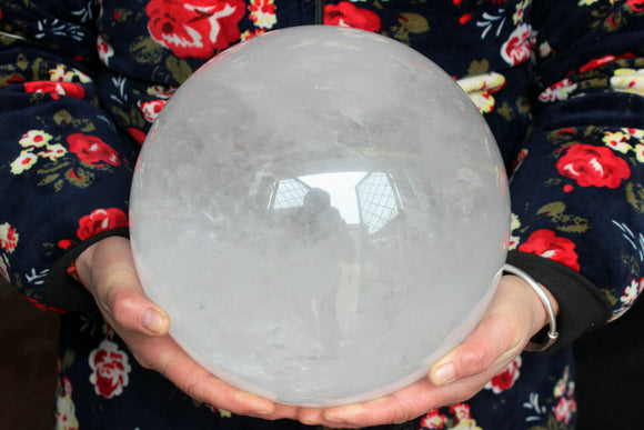 "39.2LB 17.8KG 9.2"" 233mm Natural Clear Quartz Crystal Sphere Ball Polished Healing Feng Shui Buddhism Rock Stone - FREE SHIPPING"