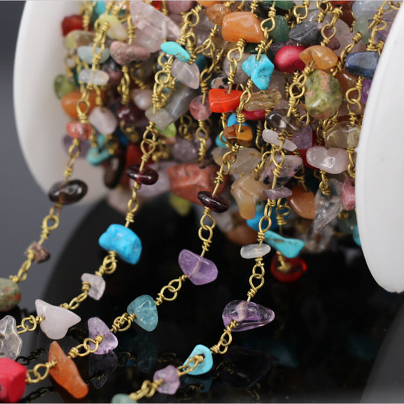 5Meter Natural Mix Stone Amethyst Turquoise Coral Rose Quartz Crystal Amazonite Chip Chain Rosary Chain Fashion Jewelry Necklace
