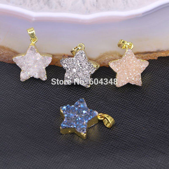 Gold color Star Shape Natural  Titanium  Pendant, Sparkle Geode Quartz Pendant - GOLD PLATED