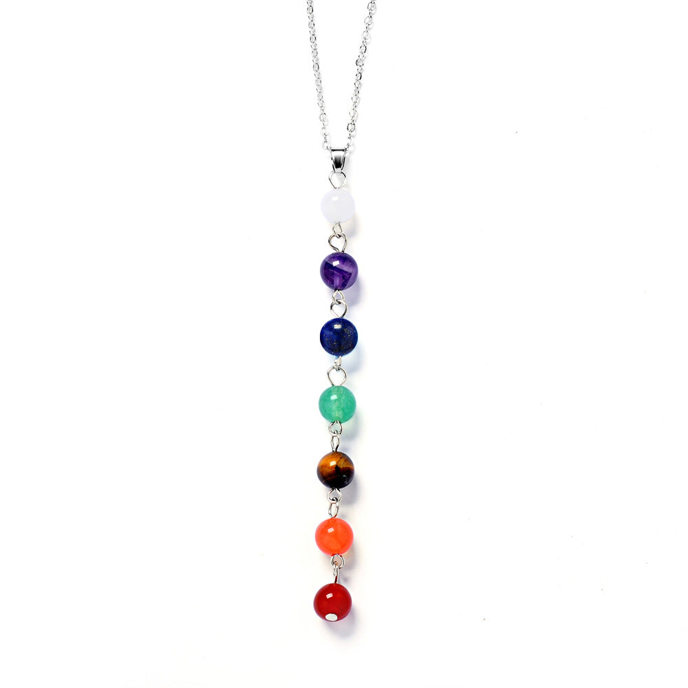 7 chakra stone yoga necklace raw quartz natural stone dowsing 7 chakra stone yoga necklace raw quartz natural stone dowsing pendulum necklaces reiki rainbow jewelry aloadofball