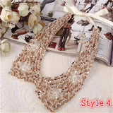 8 Styles Fashion women Sequined beaded knitted cloth Ribbon Fake collar Choker Necklace clothing