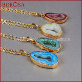 Multicolor Quartz Druzy Necklace Dyed Colors Natural Crystal Geode Freeform Cave Drusy Necklace Jewelry. GOLD PLATED