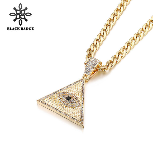 Black Badge Egyptian Pyramid Necklace Iced Out Zircon Illuminati Evil Eye Of Horus Pendant Hip Hop Gold/Silver Necklace