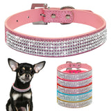 Bling Diamante Rhinestone PU Leather Cat Dog Collars  for Small Medium Dogs 5 Colors Size XS S M L