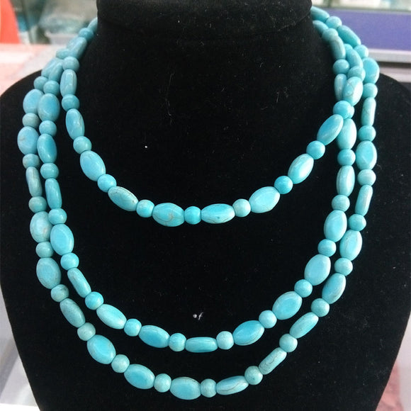 Blue Turquoises Natural Stone Long 120cm Necklace Women Meditation Necklace Egyptian Mexican Persian Tibet Yoga Necklace Jewelry