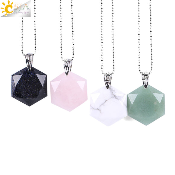 Faceted Hexagonal Natural Gem Stone Necklaces & Pendants Opal Lapis Lazuli Pink Quartz Tiger Eye Chakra Reiki Jewelry E643