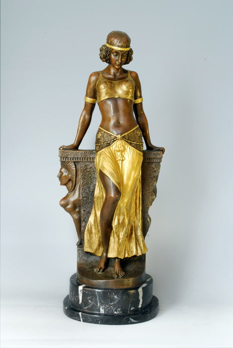 Classical Antique  Bronze woman belly Sculpture Egyptian girl Figurine Vintage Home Decor business Gift