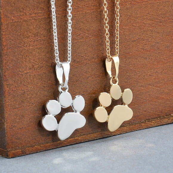 Fashion Cute Pets Dogs Footprints Paw Chain Pendant Necklace