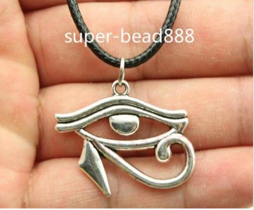 Antique Silver Bronze Rah Egypt Eye Of Horus Egyptian Charms Pendants Necklace