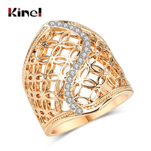 Free Shipping Fashion Hollow Big Ring For Women Gold Color Fine Jewelry
